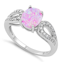 Load image into Gallery viewer, Sterling Silver Pink Oval Lab Opal CZ Ring
