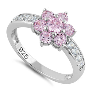 Sterling Silver Pink Plumeria Flower CZ Ring