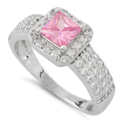 Sterling Silver Pink Princess Cut CZ Ring