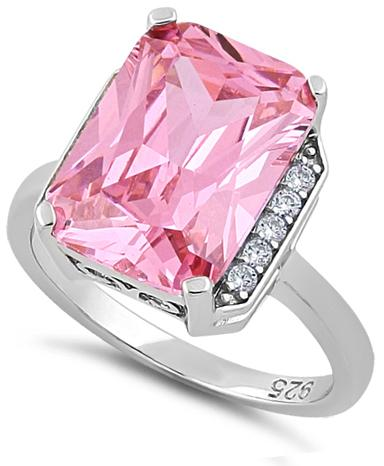 Sterling Silver Pink Radiant Cut CZ Ring