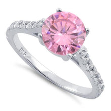 Load image into Gallery viewer, Sterling Silver Pink Round Cut Engagement CZ Ring