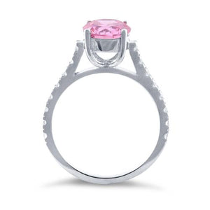 Sterling Silver Pink Round Cut Engagement CZ Ring