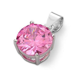 Sterling Silver Pink Round CZ 10mm Pendant