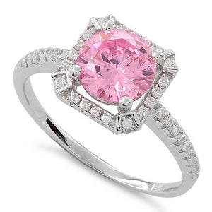 Sterling Silver Pink Round Halo Pave CZ Ring