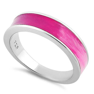 Sterling Silver Pink Spectrum Enamel Ring