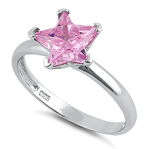 Sterling Silver Pink Star CZ Ring