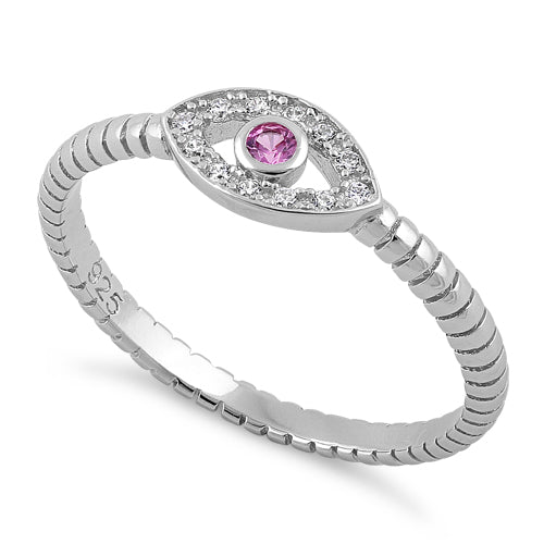 Sterling Silver Pink Stone Evil Eye CZ Ring