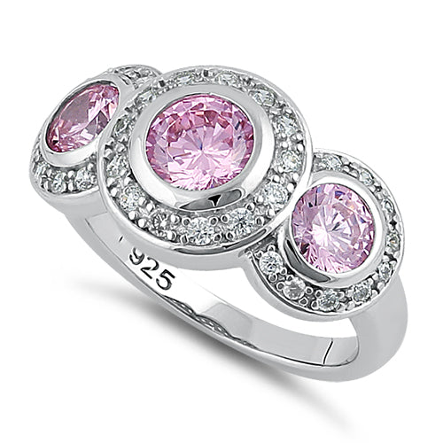 Sterling Silver Pink Three Stone Halo CZ Ring