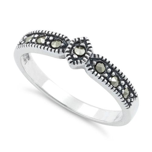 Sterling Silver Plain Marcasite Ring