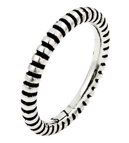 Sterling Silver Plain Silver Striped Stackable Ring
