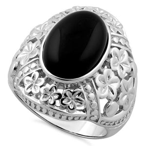 Sterling Silver Plumeria Black Agate Ring