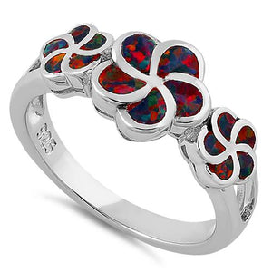 Sterling Silver Plumeria Black Lab Opal Ring
