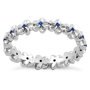 Sterling Silver Plumeria Blue Spinel CZ Eternity Band Ring