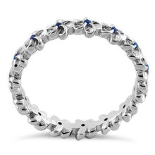 Load image into Gallery viewer, Sterling Silver Plumeria Blue Spinel CZ Eternity Band Ring