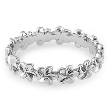 Load image into Gallery viewer, Sterling Silver Plumeria Eternity Band Ring