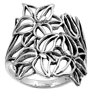Sterling Silver Plumeria Flowers Ring
