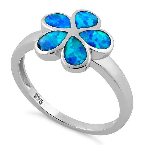 Sterling Silver Plumeria Lab Opal Ring