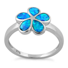 Load image into Gallery viewer, Sterling Silver Plumeria Lab Opal Ring