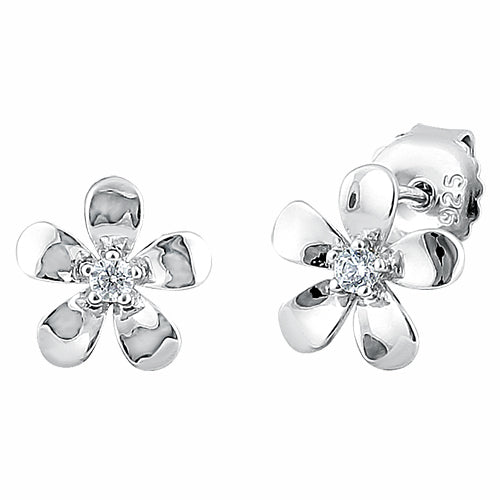 Sterling Silver Plumeria Stud CZ Earrings