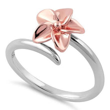Load image into Gallery viewer, Sterling Silver Plumeria Two-tone Rose Gold Ring