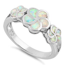 Load image into Gallery viewer, Sterling Silver Plumeria White Lab Opal Ring