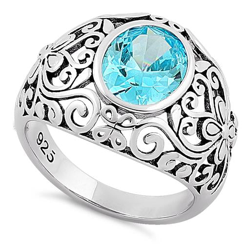 Sterling Silver Plush Oval Cut Aqua Blue CZ Ring