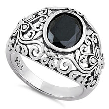 Load image into Gallery viewer, Sterling Silver Plush Oval Cut Black CZ Ring