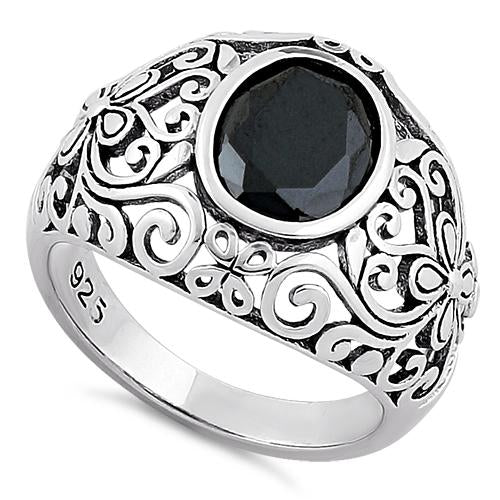 Sterling Silver Plush Oval Cut Black CZ Ring