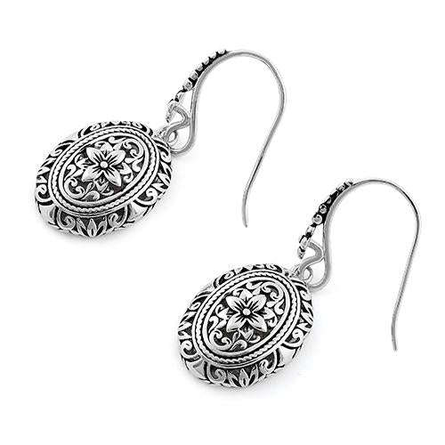 Sterling Silver Powerful Flower Hook Earrings
