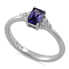 Load image into Gallery viewer, Sterling Silver Precious Emerald Cut Amethyst CZ Ring