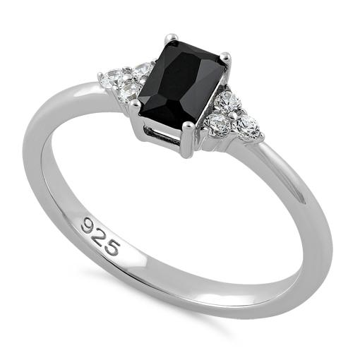 Sterling Silver Precious Emerald Cut Black CZ Ring