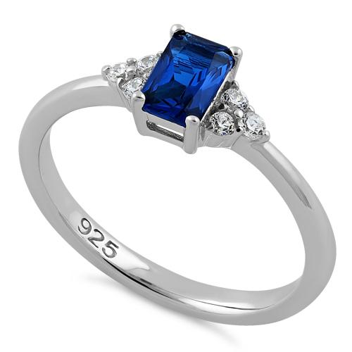 Sterling Silver Precious Emerald Cut Blue Spinel CZ Ring