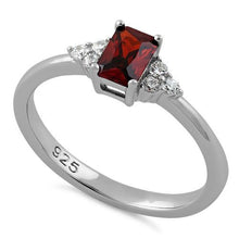 Load image into Gallery viewer, Sterling Silver Precious Emerald Cut Dark Garnet CZ Ring