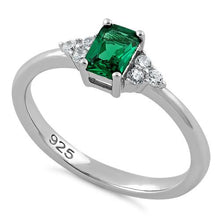 Load image into Gallery viewer, Sterling Silver Precious Emerald Cut Emerald CZ Ring