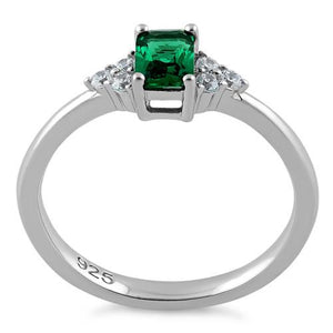 Sterling Silver Precious Emerald Cut Emerald CZ Ring