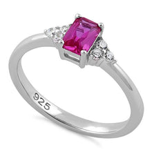 Load image into Gallery viewer, Sterling Silver Precious Emerald Cut Pink CZ Ring