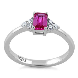 Sterling Silver Precious Emerald Cut Pink CZ Ring