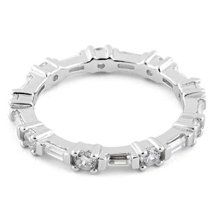 Sterling Silver Precious Eternity Clear CZ Ring