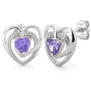 Sterling Silver Precious Heart Amethyst CZ Earrings