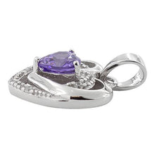 Load image into Gallery viewer, Sterling Silver Precious Heart Amethyst CZ Pendant