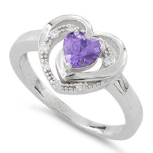 Load image into Gallery viewer, Sterling Silver Precious Heart Amethyst CZ Ring