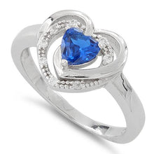 Load image into Gallery viewer, Sterling Silver Precious Heart Blue Sapphire CZ Ring