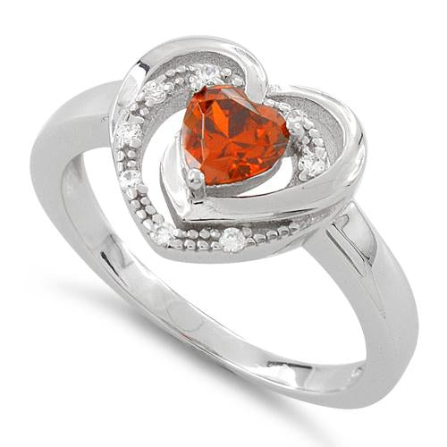 Sterling Silver Precious Heart Fire Orange CZ Ring