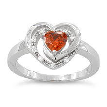 Load image into Gallery viewer, Sterling Silver Precious Heart Fire Orange CZ Ring