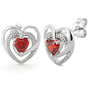 Sterling Silver Precious Heart Garnet CZ Earrings