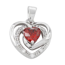 Load image into Gallery viewer, Sterling Silver Precious Heart Garnet CZ Pendant