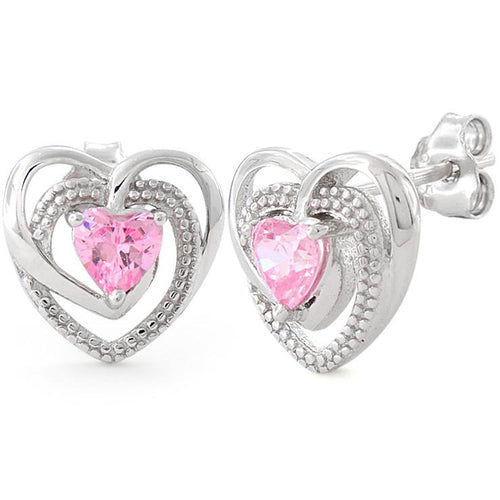 Sterling Silver Precious Heart Pink CZ Earrings
