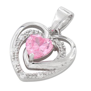 Sterling Silver Precious Heart Pink CZ Pendant