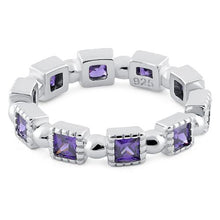 Load image into Gallery viewer, Sterling Silver Princess Cut Amethyst Eternity CZ Ring