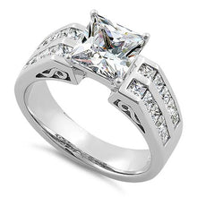 Load image into Gallery viewer, Sterling Silver Princess Cut Clear CZ Engagement Ring